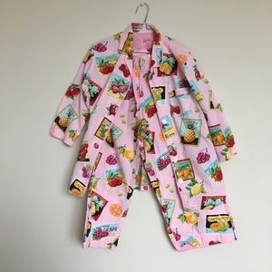 Nick & Nora Pink Fruit Cotton Pajamas Medium